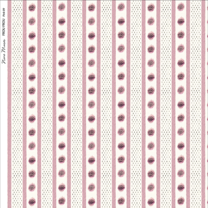 Linen fabric printed design with a delicate stripe and dot repeat pattern in pink on white background