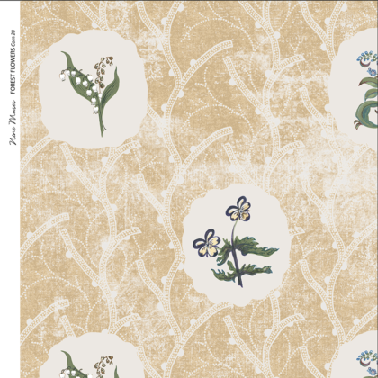 Linen fabric printed with a repeat design of delicate floral botanical plant pattern in white circles on gold background
