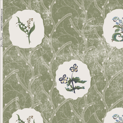 Linen fabric printed with a repeat design of delicate floral botanical plant pattern in white circles on green background