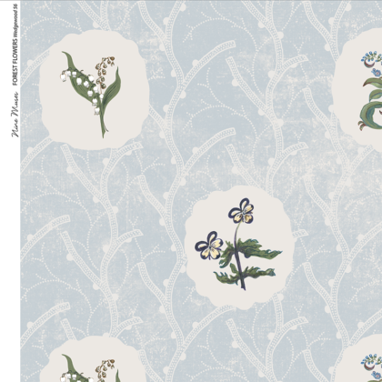 Linen fabric printed with a repeat design of delicate floral botanical plant pattern in white circles on blue background