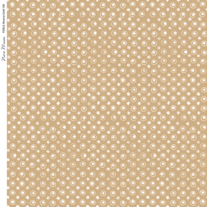 Linen fabric printed with a delicate hand drawn star and dot repeat pattern in white on a gold background