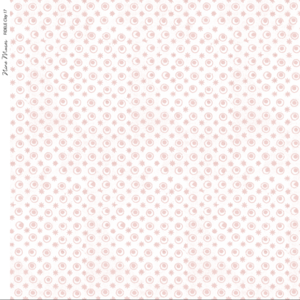 Linen fabric printed with a delicate hand drawn star and dot repeat pattern in pale clay pink on white background