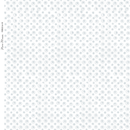 Linen fabric printed with a delicate hand drawn star and dot repeat pattern in pale ice blue on white background