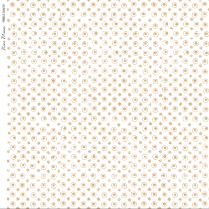 Linen fabric printed with a delicate hand drawn star and dot repeat pattern in gold on white background