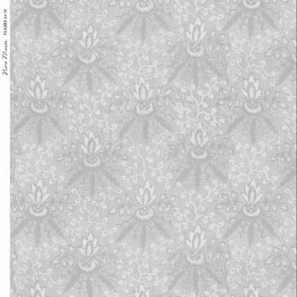 Linen fabric printed with a delicate floral repeat pattern on pale ice blue background