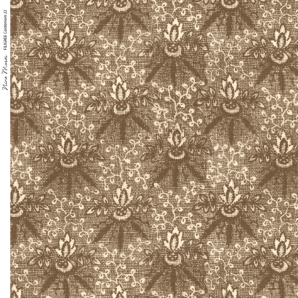 Linen fabric printed with a delicate floral repeat pattern on cardamom brown background