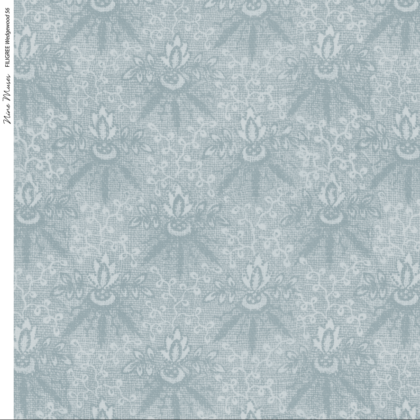 Linen fabric printed with a delicate floral repeat pattern on mid blue background