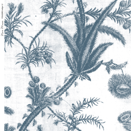 Linen fabric printed with a repeat pattern of delicate floral design in blue on white background