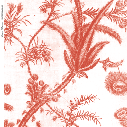 Linen fabric printed with a repeat pattern of delicate floral design in red on white background