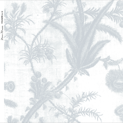 Linen fabric printed with a repeat pattern of delicate floral design in pale ice blue on white background