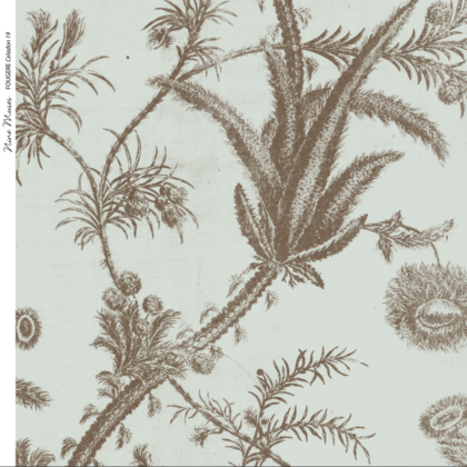 Linen fabric printed with a repeat pattern of delicate floral design in pale brown on celadon blue-green background