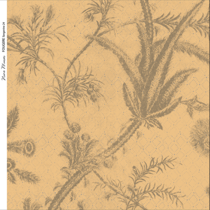 Linen fabric printed with a repeat pattern of delicate floral design in pale brown on gold background
