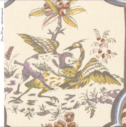 Linen fabric printed with a repeat traditional design of delicate floral pattern on cream background