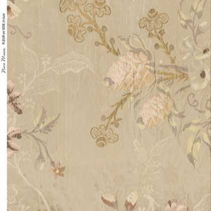 Linen fabric designed with a delicate floral repeat pattern gold background