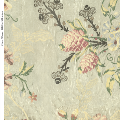 Linen fabric designed with a delicate floral repeat pattern on pale green background