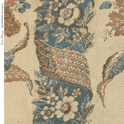 Linen fabric printed with a repeat stripe design of delicate floral botanical pattern on plain background