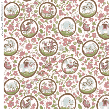 Linen fabric printed design with delicate floral and animal repeat pattern in colour on white background