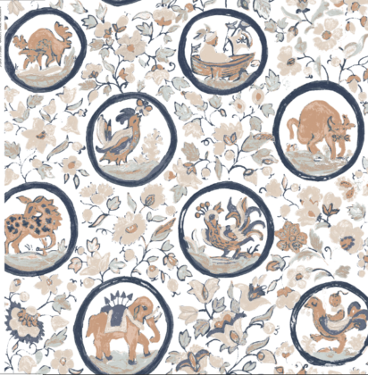 Linen fabric printed design with delicate floral and animal repeat pattern in colour on white background full pattern repeat