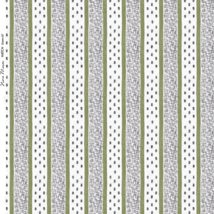 Linen fabric printed repeat pattern of green stripe with black crosshatch detail on white background