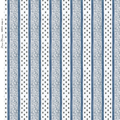 Linen fabric printed repeat pattern of indigo blue stripe with black crosshatch detail on white background