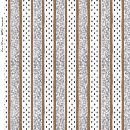 Linen fabric printed repeat pattern of cardamom brown stripe with black crosshatch detail on white background