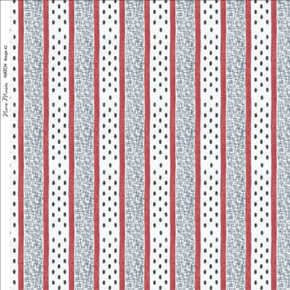 Linen fabric printed repeat pattern of red stripe with black crosshatch detail on white background