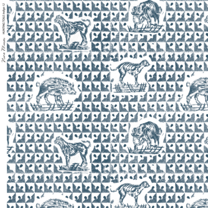 Linen fabric printed design with delicate animal repeat pattern in indigo navy blue on white background
