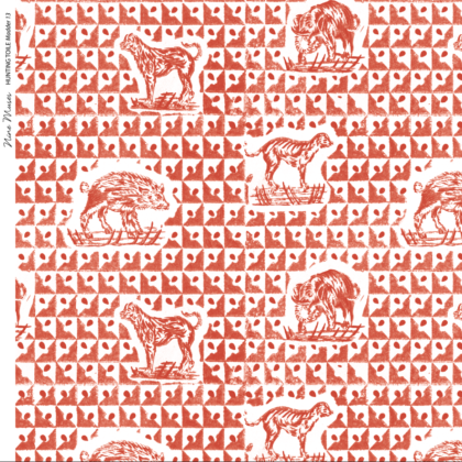 Linen fabric printed design with delicate animal repeat pattern in orange red on white background