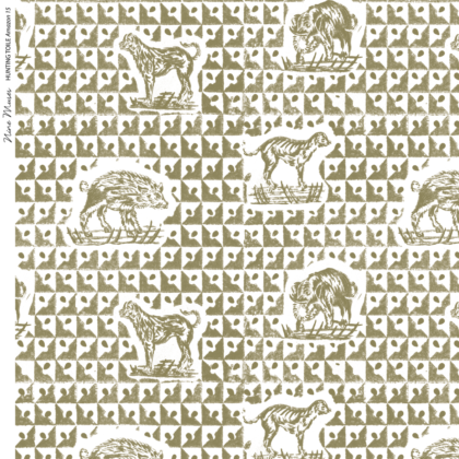 Linen fabric printed design with delicate animal repeat pattern in khaki green on white background