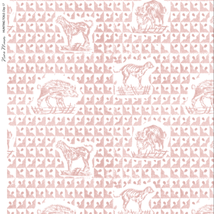 Linen fabric printed design with delicate animal repeat pattern in pale clay pink on white background