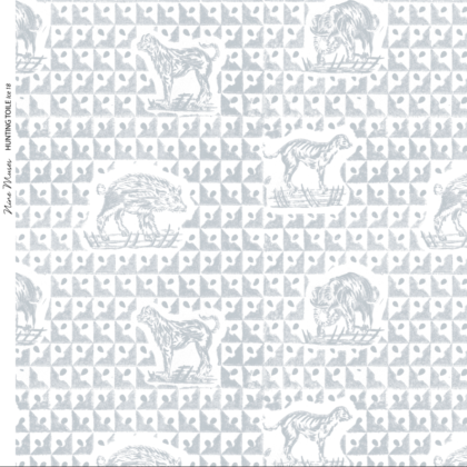 Linen fabric printed design with delicate animal repeat pattern in pale ice blue on white background