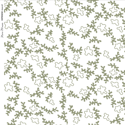 Linen fabric printed design with delicate coral like repeat pattern in green on white background
