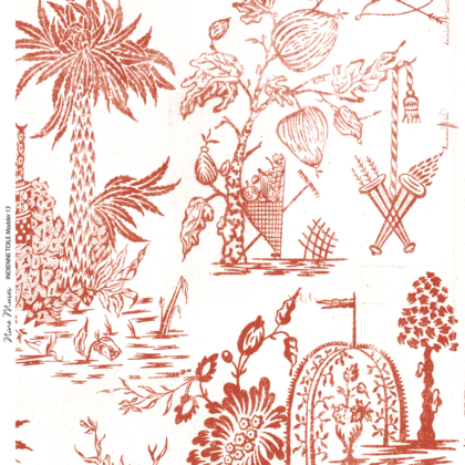 Linen fabric printed design with a delicate hand drawn traditional scenic toile repeat pattern in orange red on white background