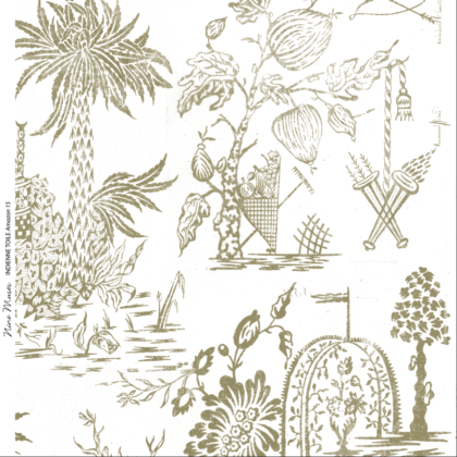 Linen fabric printed design with a delicate hand drawn traditional scenic toile repeat pattern in khaki green on white background