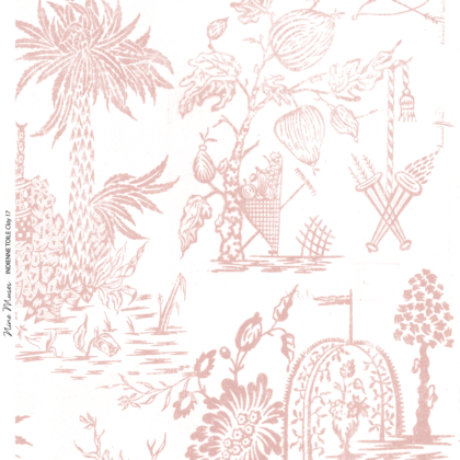 Linen fabric printed design with a delicate hand drawn traditional scenic toile repeat pattern in clay pink on white background