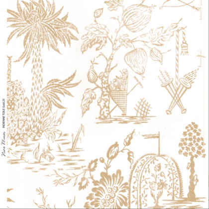 Linen fabric printed design with a delicate hand drawn traditional scenic toile repeat pattern in gold on white background