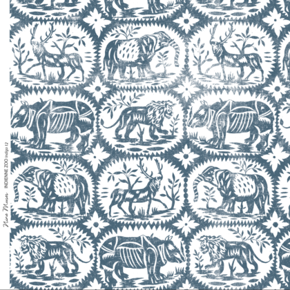 Linen fabric printed design with a delicate hand drawn animal repeat pattern in indigo blue on white background