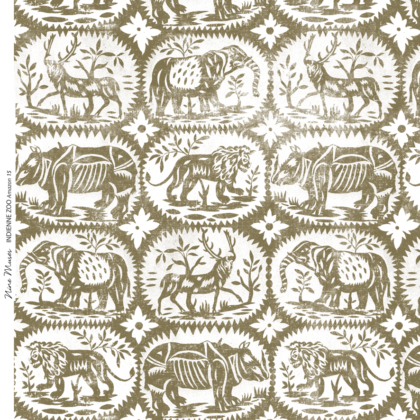 Linen fabric printed design with a delicate hand drawn animal repeat pattern in khaki green on white background