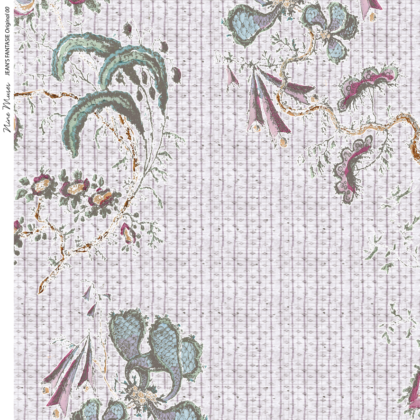Linen fabric printed design with a delicate hand drawn traditional floral botanical repeat pattern on pale pink background