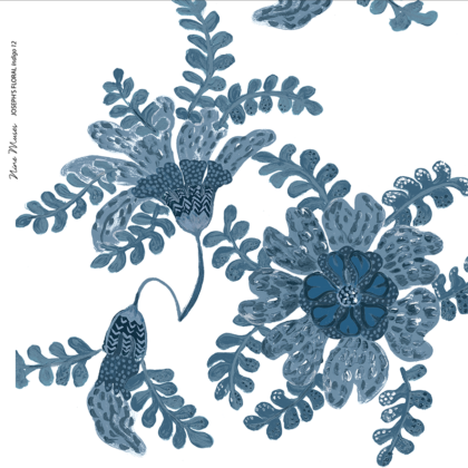 Linen fabric printed design with delicate floral and leaf repeat pattern in indigo blue on white background