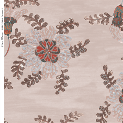 Linen fabric printed design with delicate floral and leaf repeat pattern in brown on warm taupe background