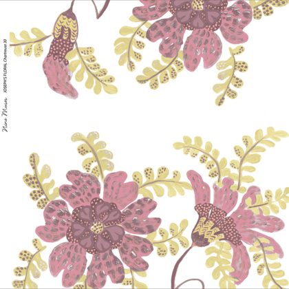 Linen fabric printed design with delicate floral and leaf repeat pattern in chartreuse and dark blush on white background