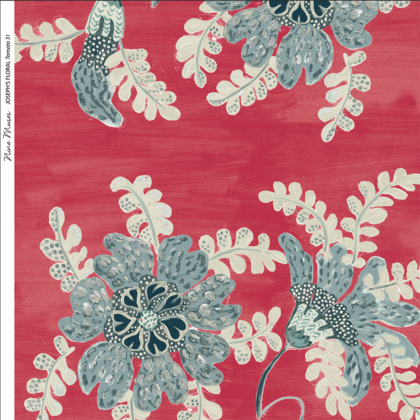 Linen fabric printed design with delicate floral and leaf repeat pattern in blue green and taupe on red background