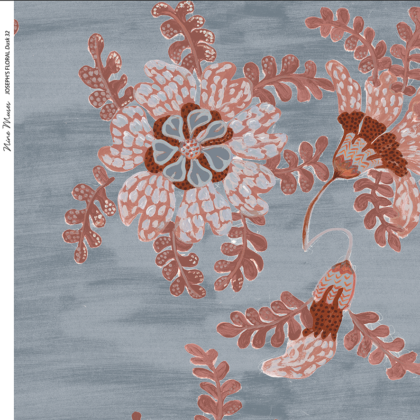 Linen fabric printed design with delicate floral and leaf repeat pattern in blush on dusk blue background