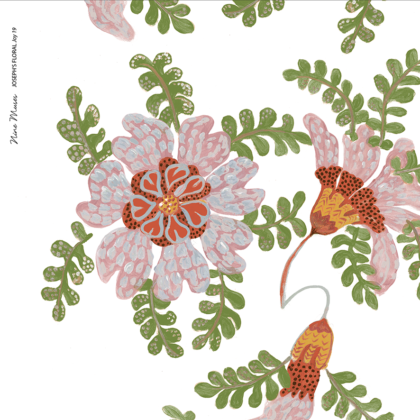 Linen fabric printed design with delicate floral and leaf repeat pattern in green red and blush on white background