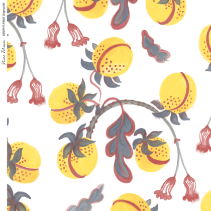 Linen fabric printed design with hand drawn delicate paint botanical fruit repeat pattern in yellow and colour on white background