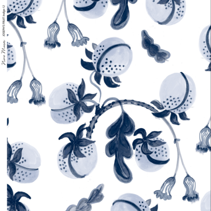 Linen fabric printed design with hand drawn delicate paint botanical fruit repeat pattern in indigo blue on white background