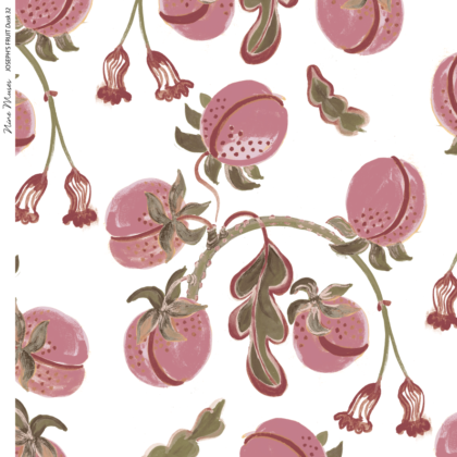 Linen fabric printed design with hand drawn delicate paint botanical fruit repeat pattern in dark blush pink on white background