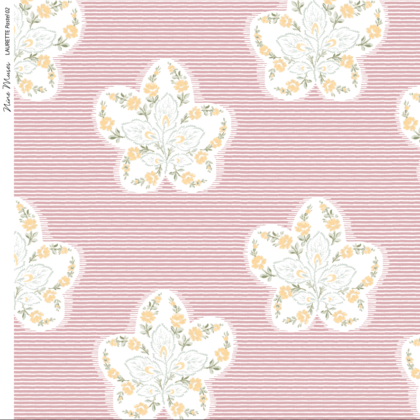 Linen fabric printed design with delicate floral repeat pattern in white and pastel on fine stripe pale pink background