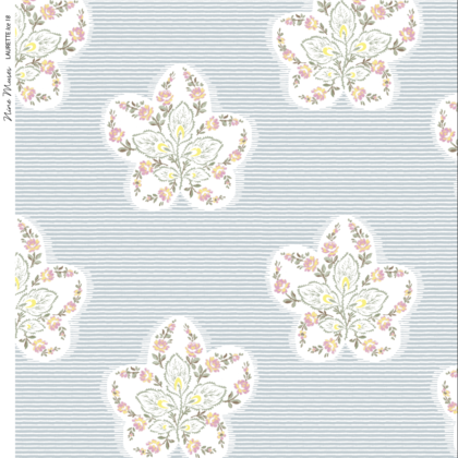 Linen fabric printed design with delicate floral repeat pattern in white and pastel on fine stripe pale ice blue background